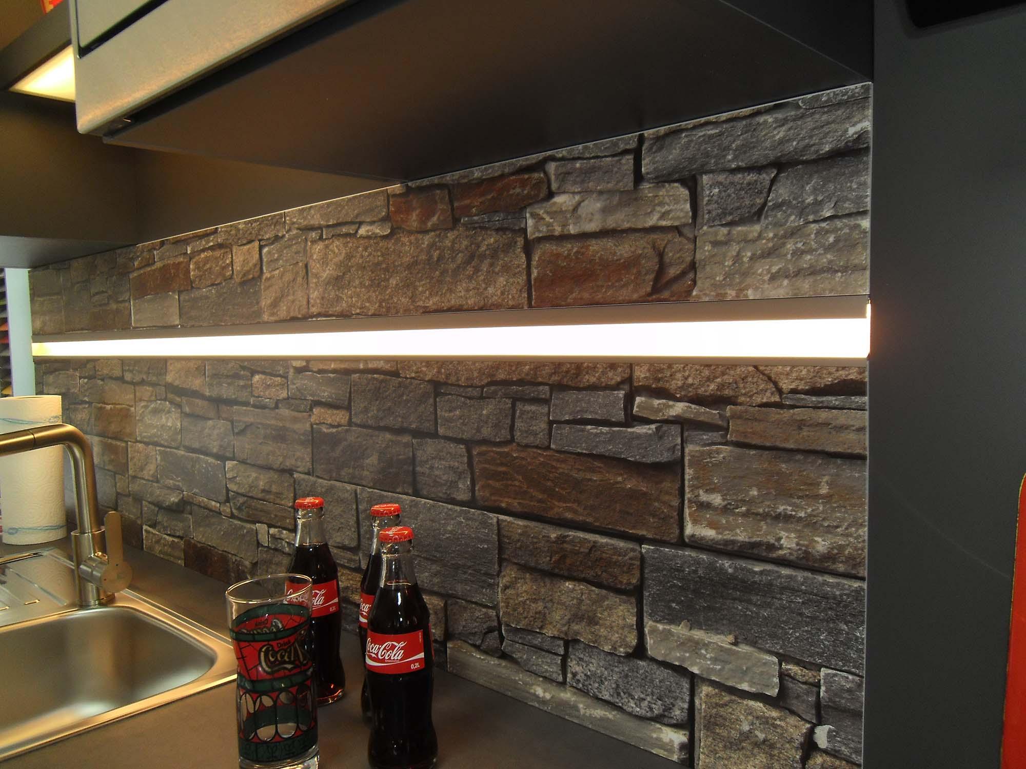 Nischenplatte Kunststoff mit dekorativem Motiv und int. LED-Beleuchtung